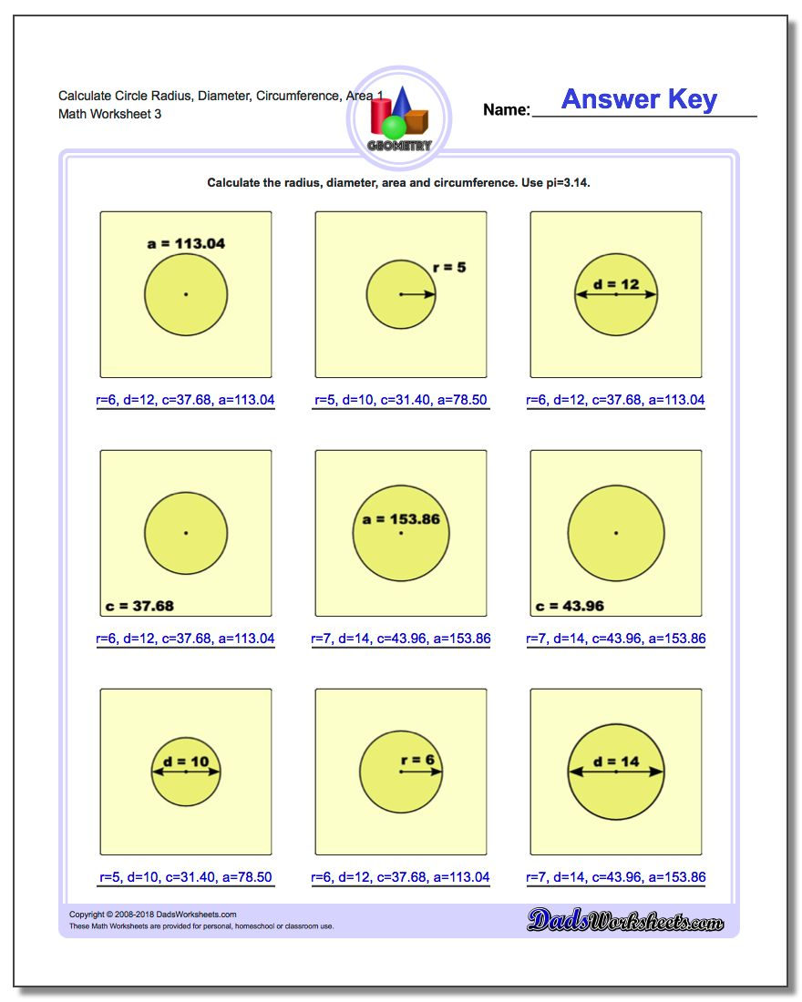Calculate Circle Radius, Diameter, Circumference, Area 1 Worksheet