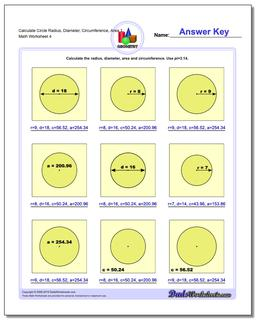 Calculate Circle Radius, Diameter, Circumference, Area 1 Worksheet