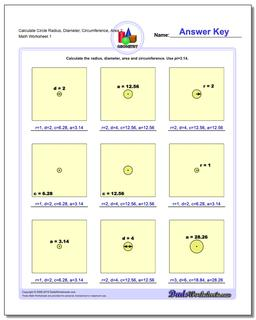Calculate Circle Radius, Diameter, Circumference, Area 2 Basic Geometry Worksheet