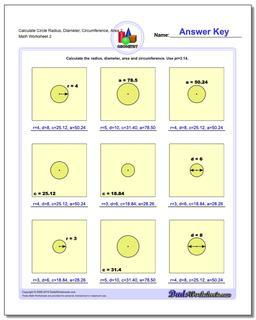 Calculate Circle Radius, Diameter, Circumference, Area 2 www.dadsworksheets.com/worksheets/basic-geometry.html Worksheet