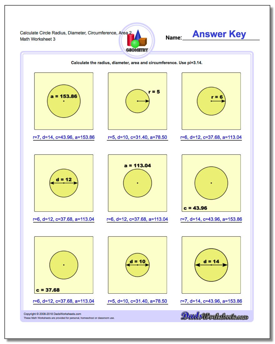 Calculate Circle Radius, Diameter, Circumference, Area 2 Worksheet