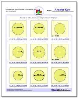 Calculate Circle Radius, Diameter, Circumference, Area 2 Worksheet