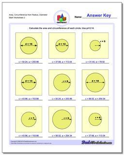 Area, Circumference from Radius, Diameter www.dadsworksheets.com/worksheets/basic-geometry.html Worksheet
