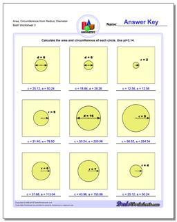 Area, Circumference from Radius, Diameter Worksheet #Basic #Geometry #Worksheet
