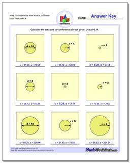 Area, Circumference from Radius, Diameter Worksheet