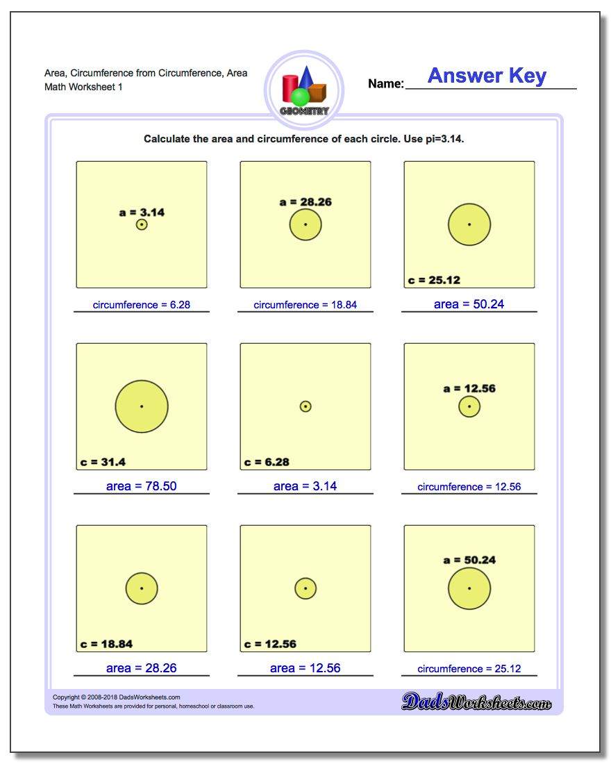 Circles - Area and Circumference