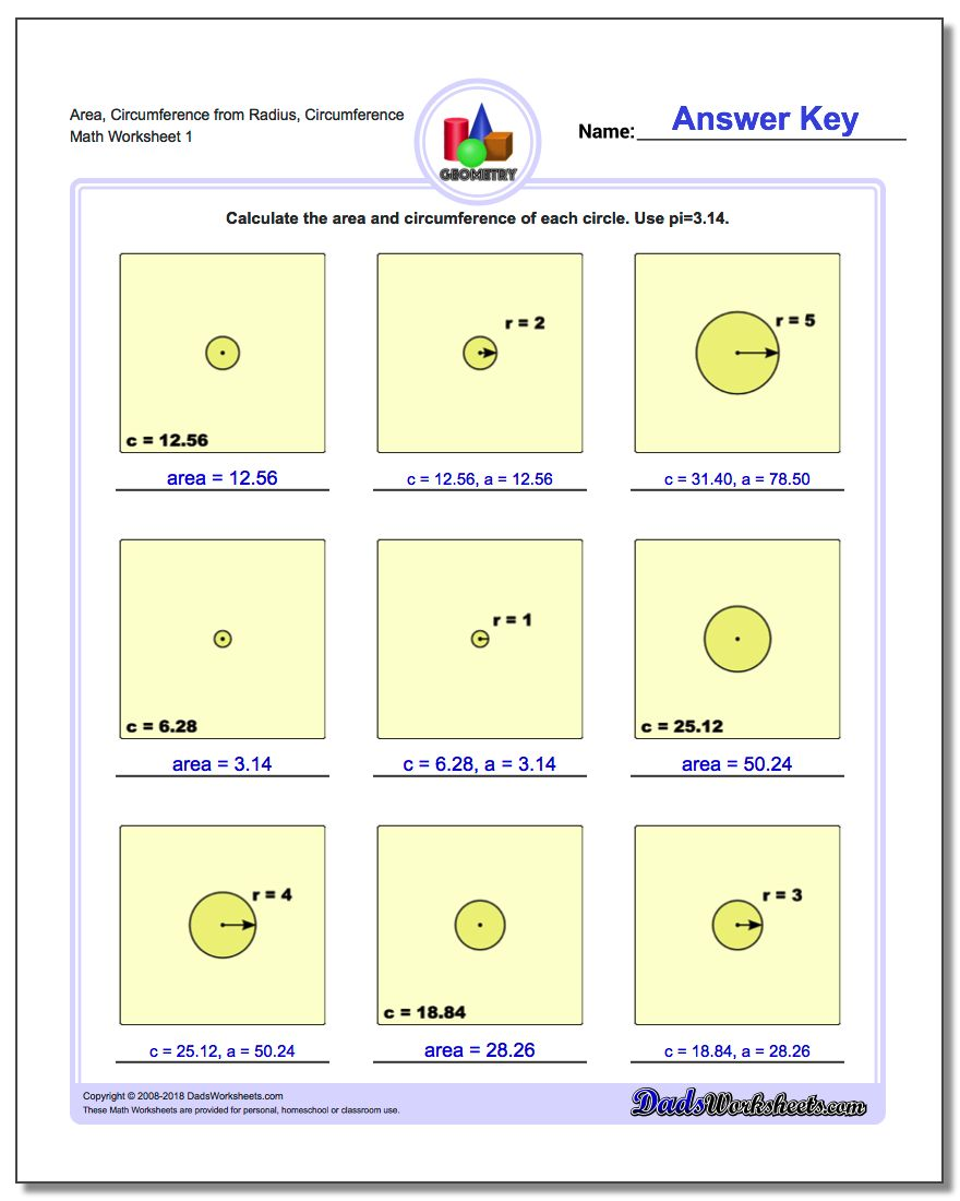 Circles Area and Circumference – Area and Circumference Worksheet