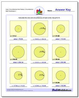 Area, Circumference from Radius, Circumference www.dadsworksheets.com/worksheets/basic-geometry.html Worksheet