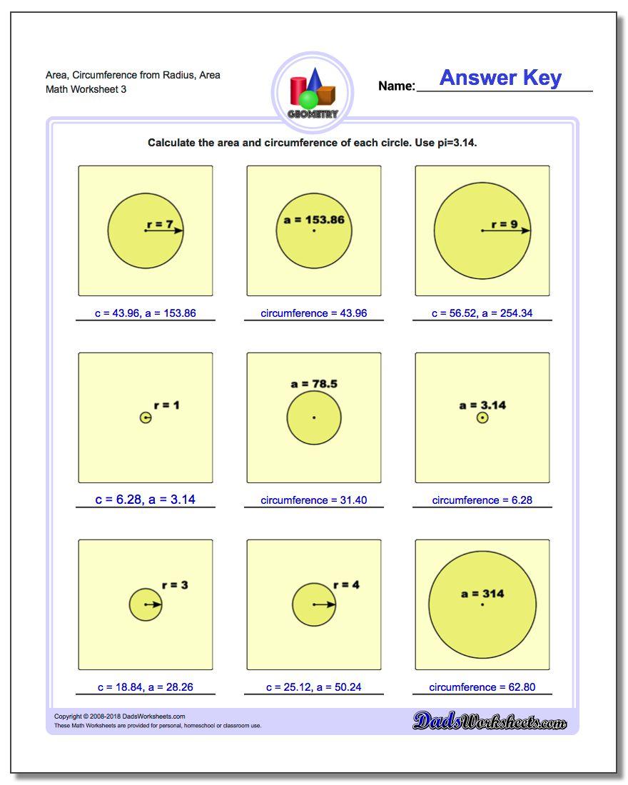 Area, Circumference from Radius, Area Worksheet