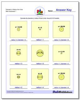 Diameter or Radius from Area Basic Geometry Worksheet