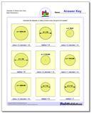 Diameter or Radius from Area www.dadsworksheets.com/worksheets/basic-geometry.html Worksheet
