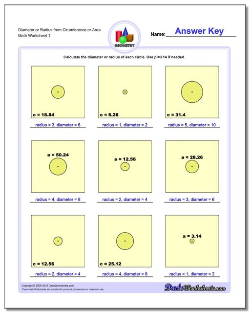 Diameter or Radius from Cirumference or Area Basic Geometry Worksheets