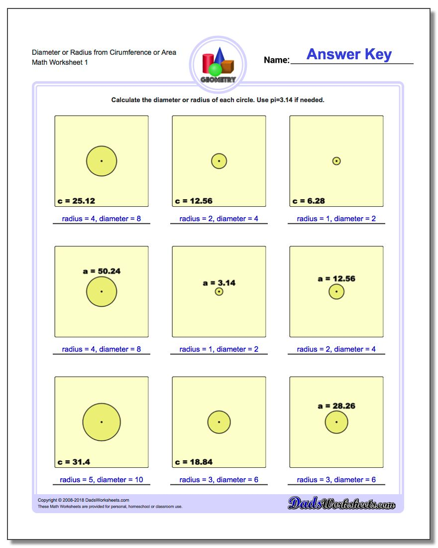 Circles Diameter and Radius – Area and Circumference Worksheet