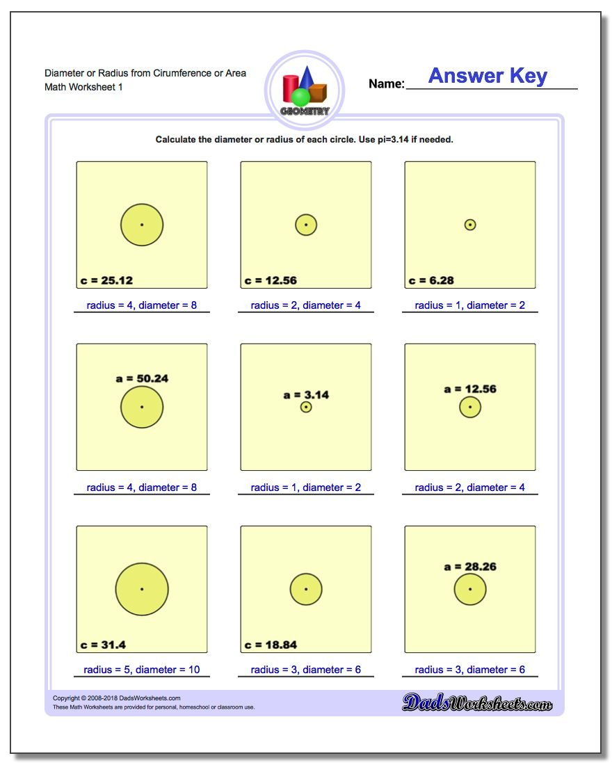 Free Worksheet Circumference And Area Of A Circle Worksheet circles diameter and radius worksheet 4