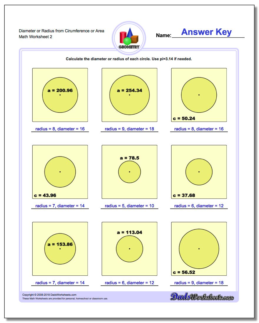 Diameter or Radius from Cirumference or Area www.dadsworksheets.com/worksheets/basic-geometry.html Worksheet