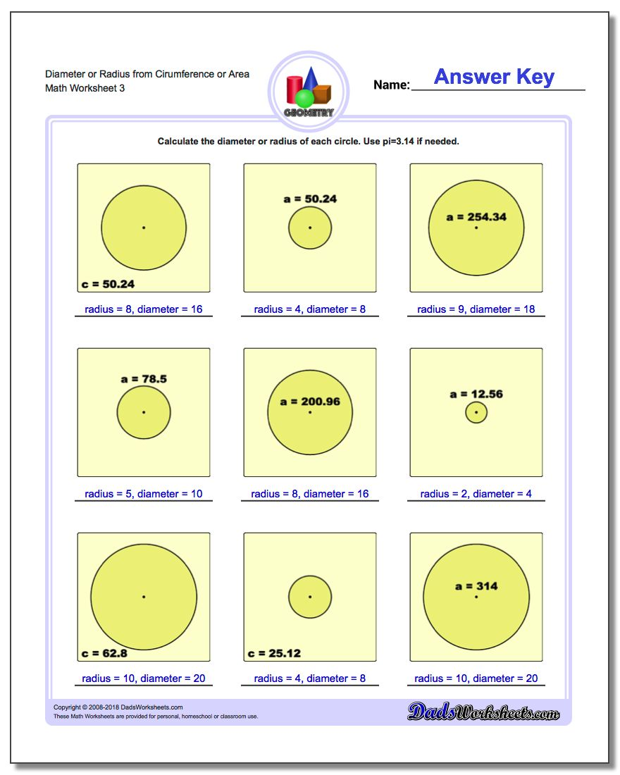 circles area and circumference coloring activity answer key