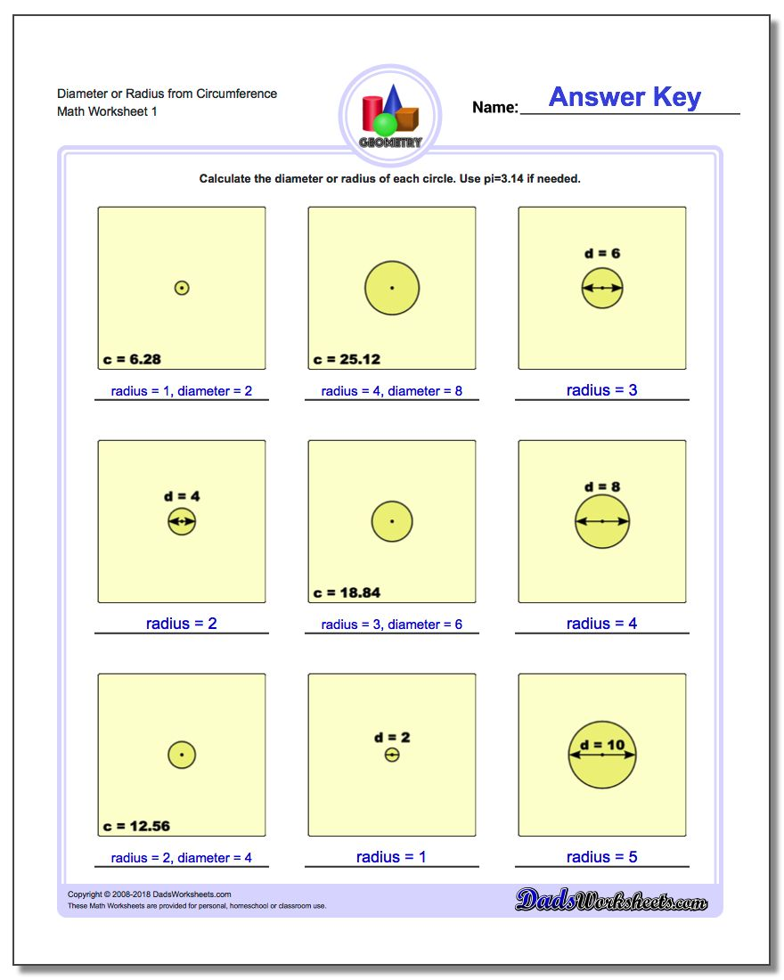 Worksheets Circumference Worksheets circles diameter and radius or from circumference basic geometry worksheet