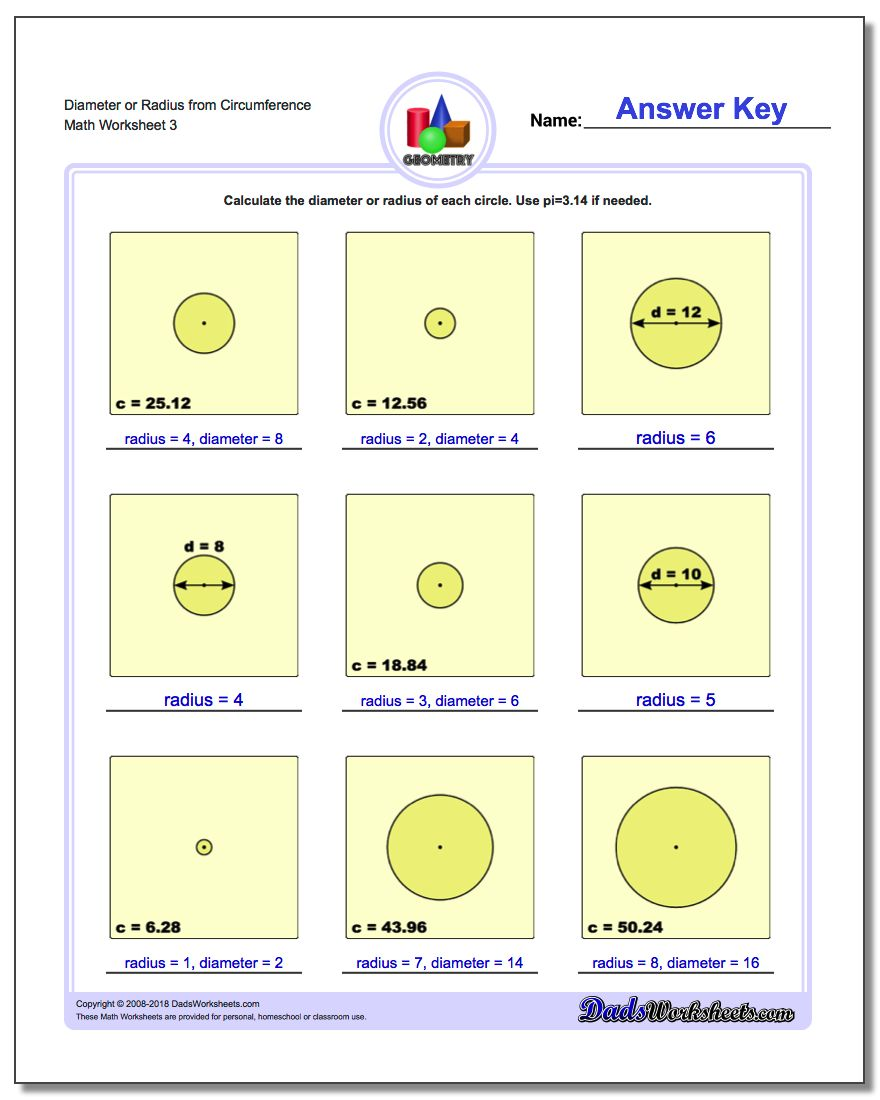 Diameter or Radius from Circumference Worksheet