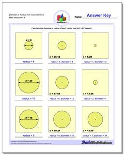 Diameter or Radius from Circumference Worksheet