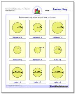 Diameter from Radius, Radius From Diameter www.dadsworksheets.com/worksheets/basic-geometry.html Worksheet