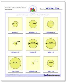 Diameter from Radius, Radius From Diameter Worksheet