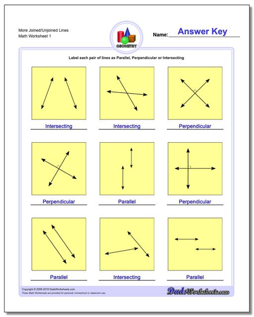 More Joined/Unjoined Lines Basic Geometry Worksheets