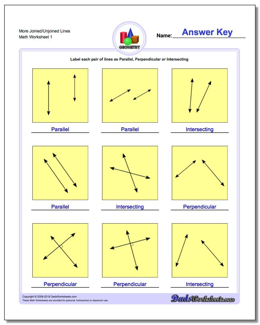 math worksheet : parallel perpendicular intersecting : Perpendicular Lines Worksheet