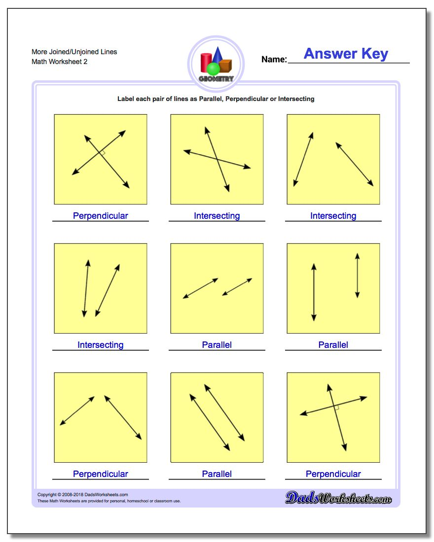 More Joined/Unjoined Lines www.dadsworksheets.com/worksheets/basic-geometry.html Worksheet