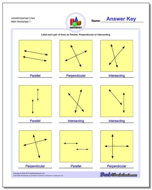 Joined/Unjoined Lines Basic Geometry Worksheets
