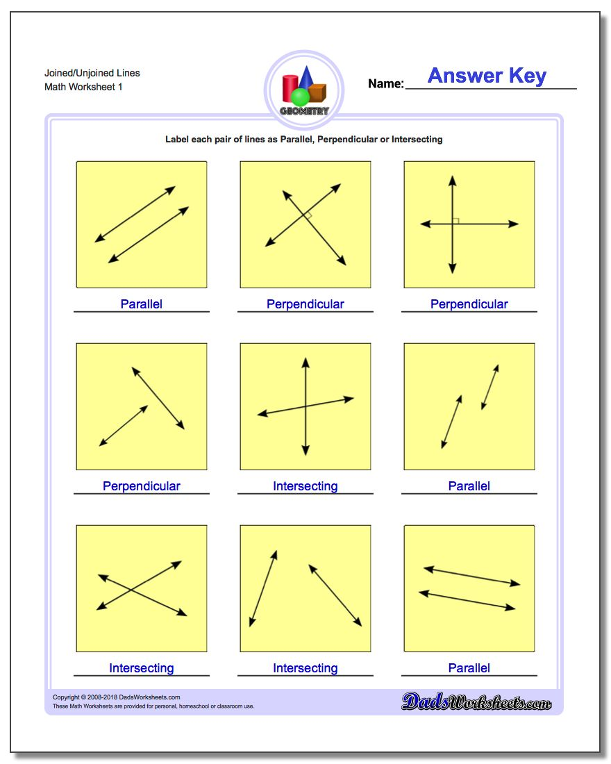 Joined/Unjoined Lines Basic Geometry Worksheet