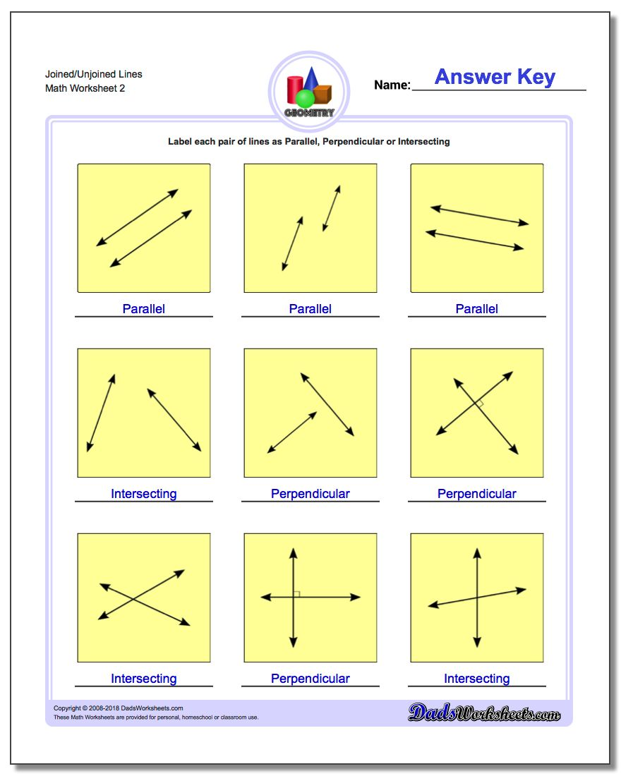 Joined/Unjoined Lines www.dadsworksheets.com/worksheets/basic-geometry.html Worksheet