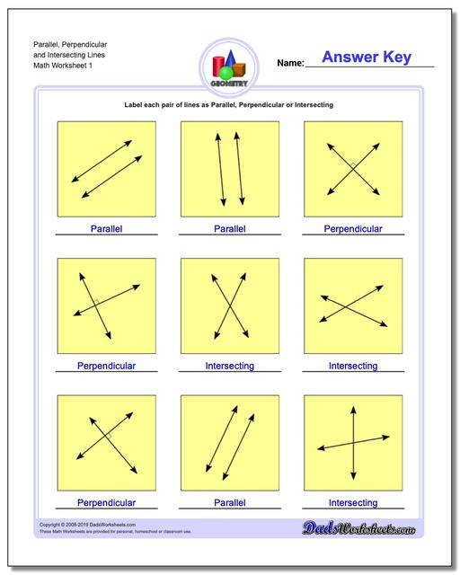 Parallel, Perpendicular and Intersecting Lines Basic Geometry Worksheets