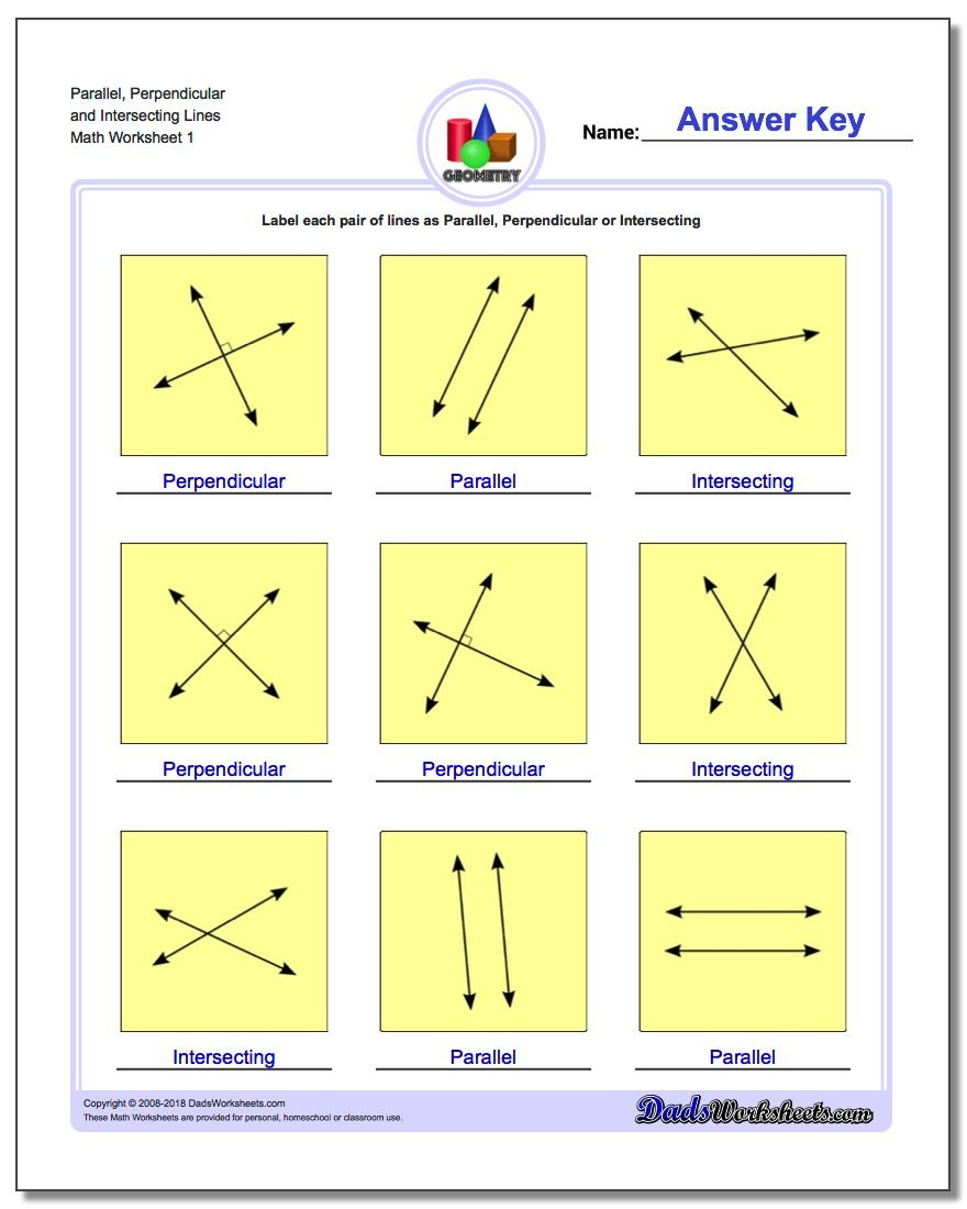 Parallel, Perpendicular and Intersecting Lines Basic Geometry Worksheet