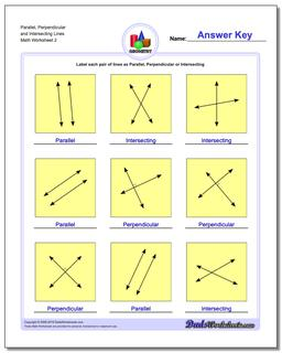 Parallel, Perpendicular and Intersecting Lines www.dadsworksheets.com/worksheets/basic-geometry.html Worksheet