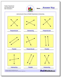 Parallel, Perpendicular and Intersecting Lines Worksheet