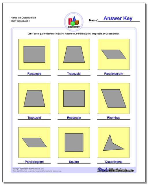 Name the Quadrilaterals Basic Geometry Worksheets