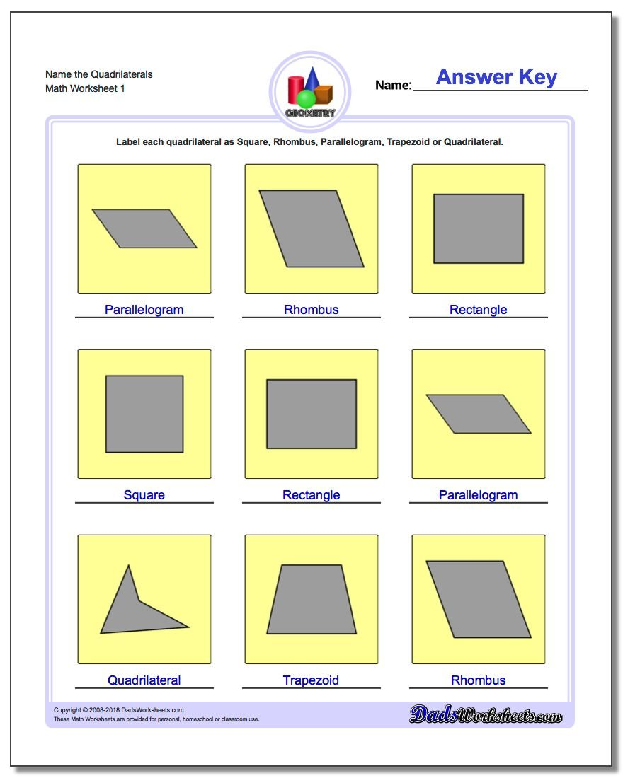 worksheet Quadrilateral Worksheet basic shapes name the quadrilaterals geometry worksheet