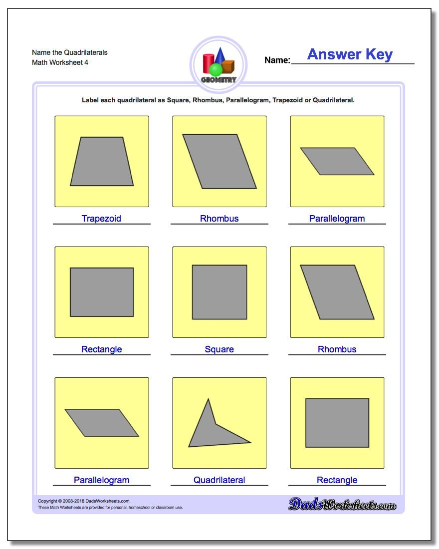 Name the Quadrilaterals Worksheet