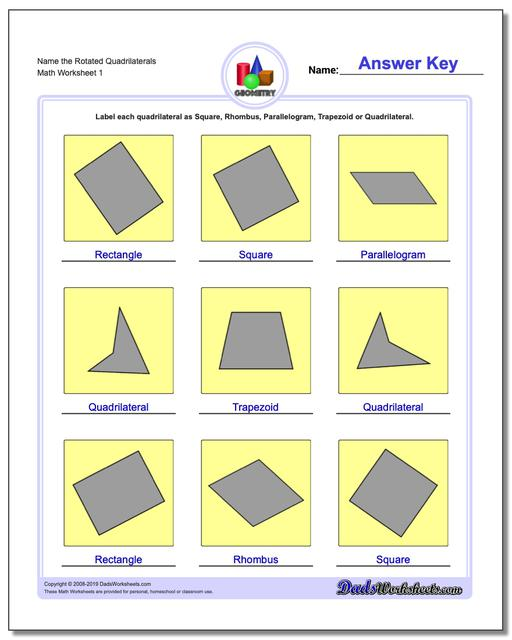 Name the Rotated Quadrilaterals Basic Geometry Worksheets