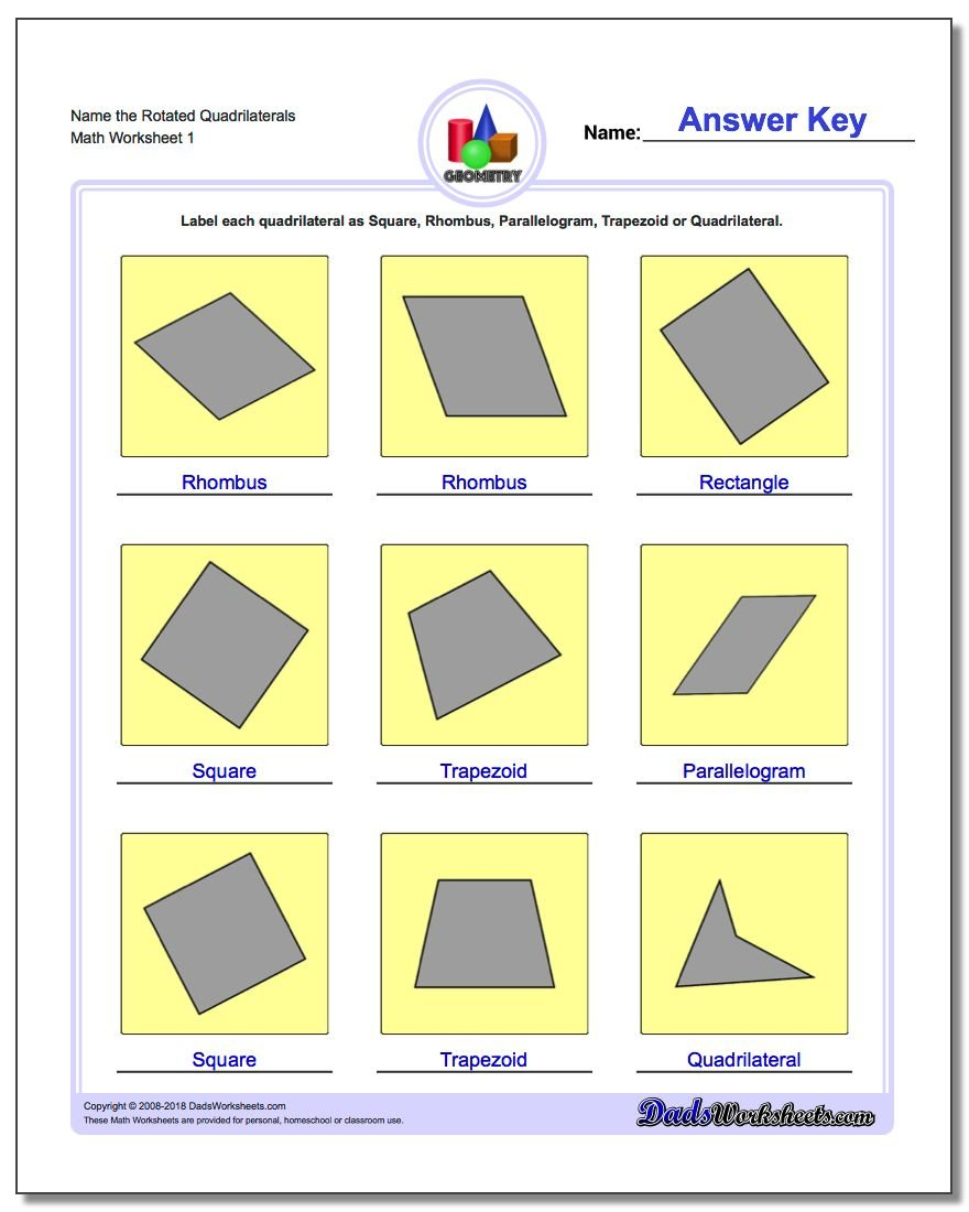worksheet Types Of Quadrilaterals Worksheet basic shapes name the rotated quadrilaterals geometry worksheet