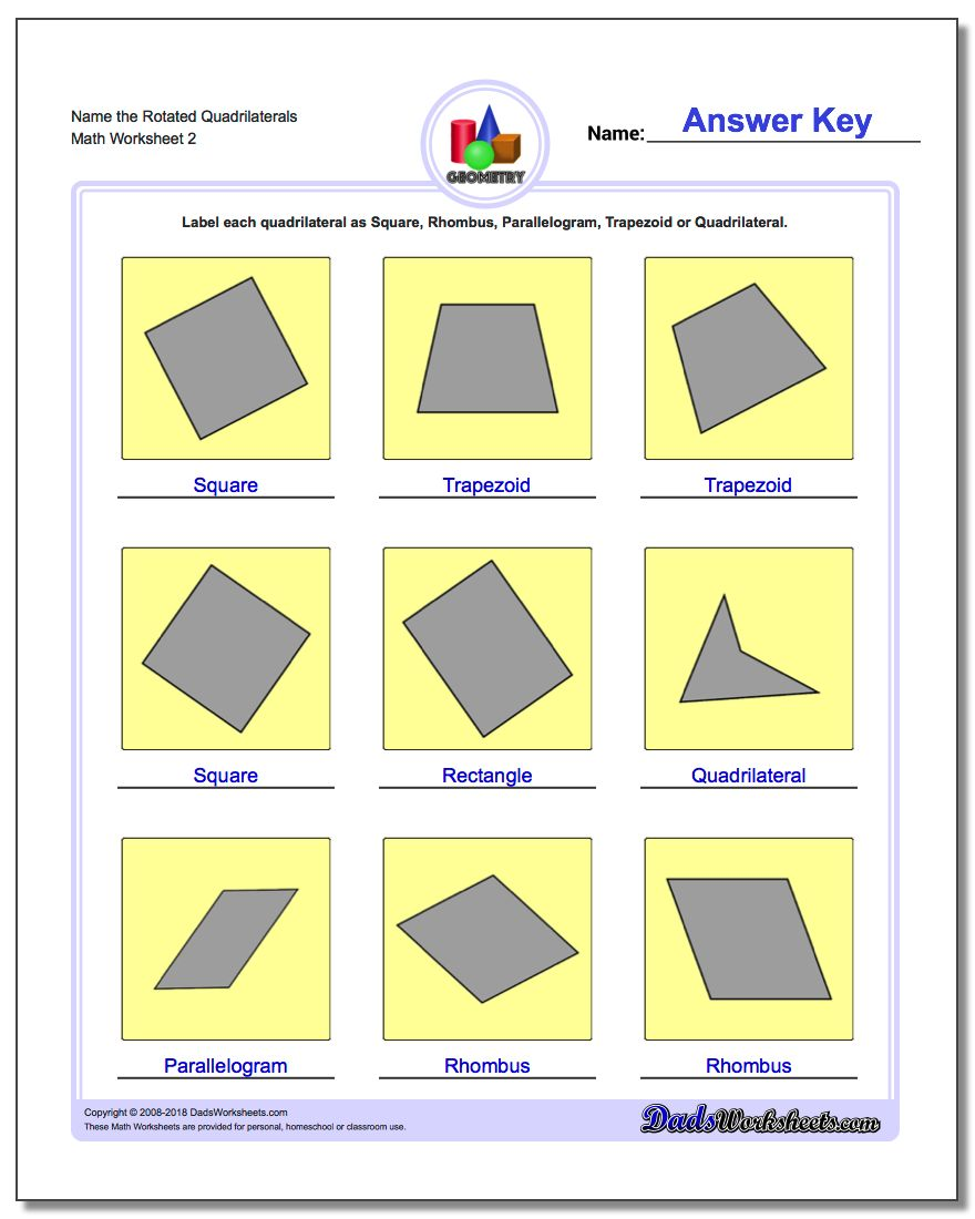 Name the Rotated Quadrilaterals www.dadsworksheets.com/worksheets/basic-geometry.html Worksheet