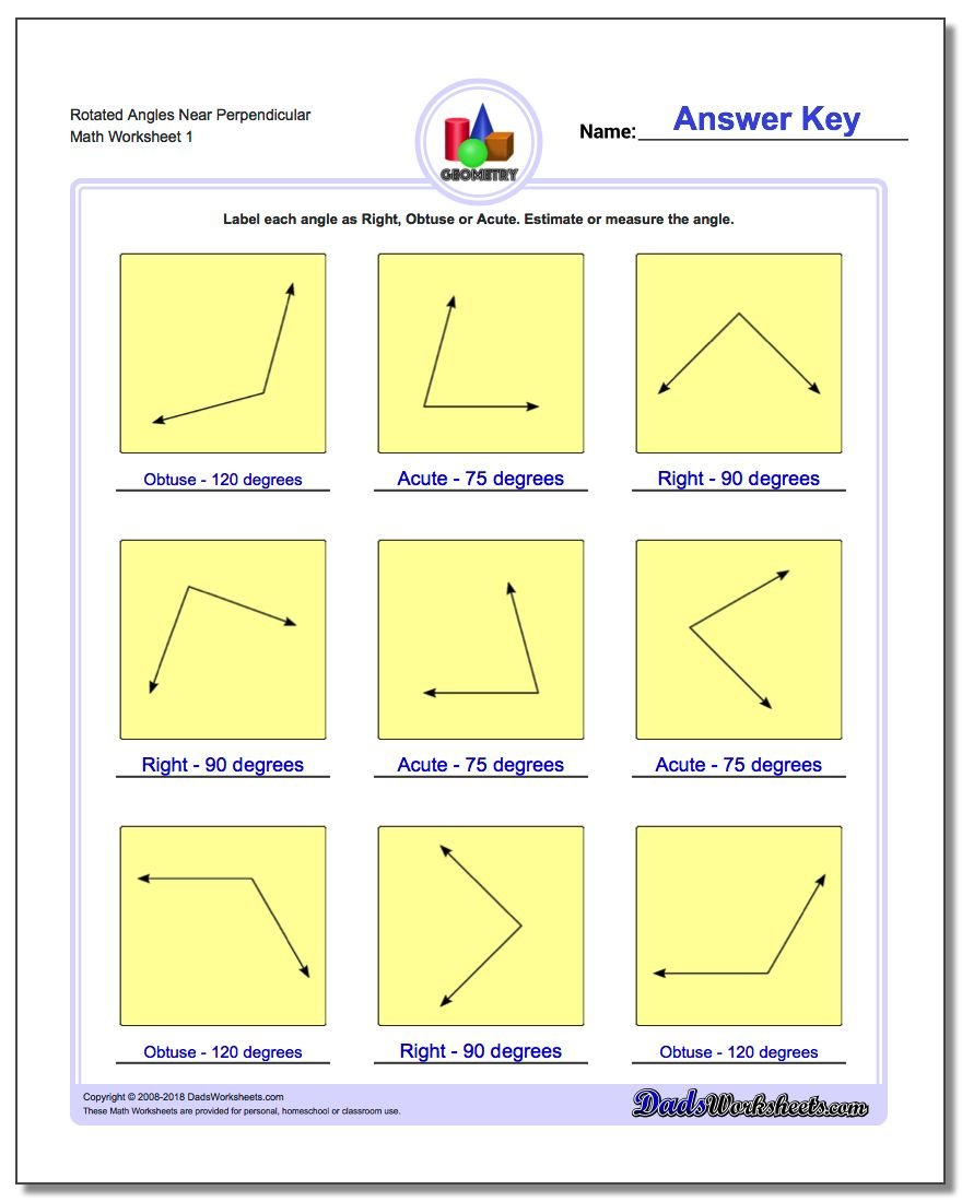 Rotated Angles Near Perpendicular Basic Geometry Worksheet