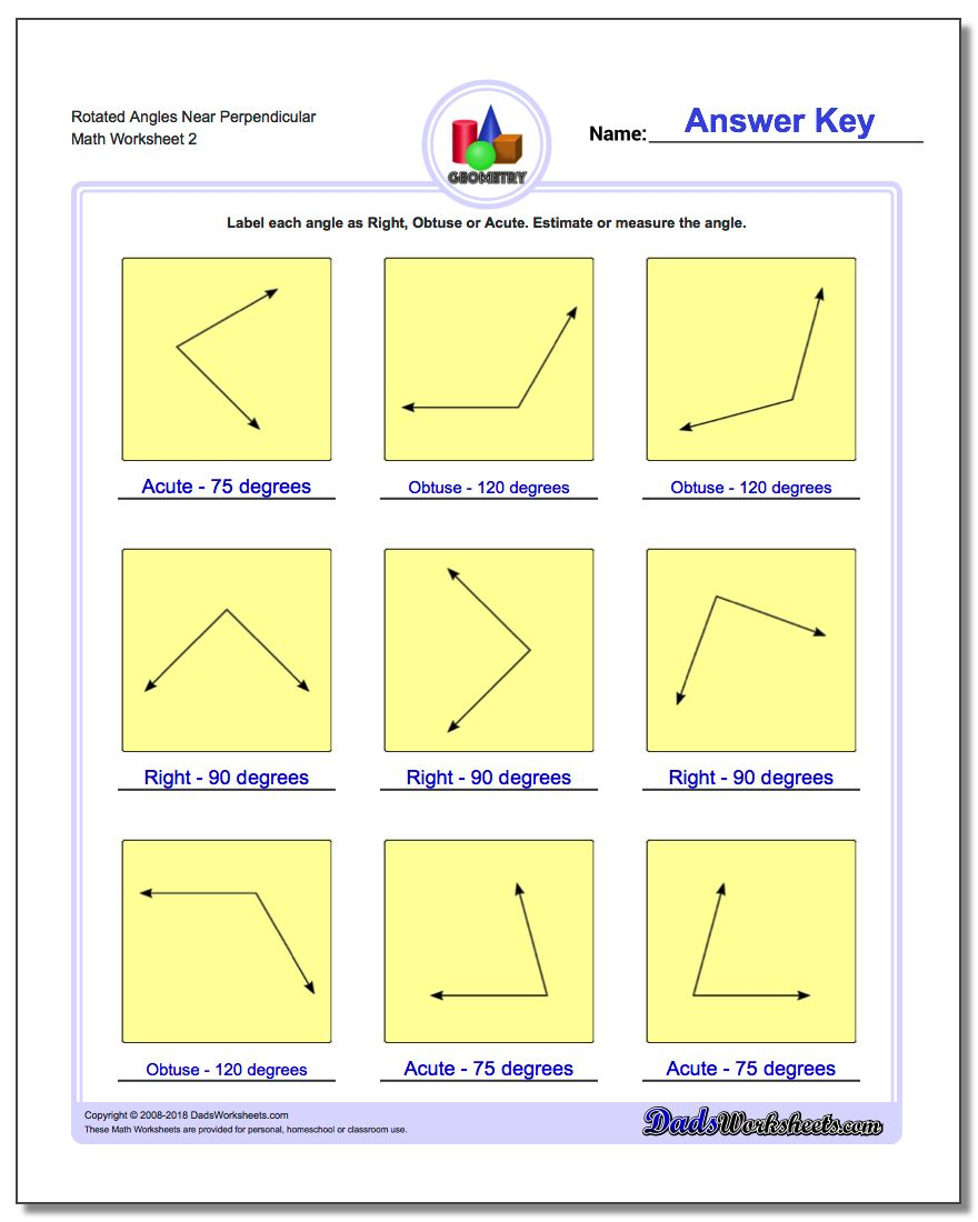 Rotated Angles Near Perpendicular www.dadsworksheets.com/worksheets/basic-geometry.html Worksheet