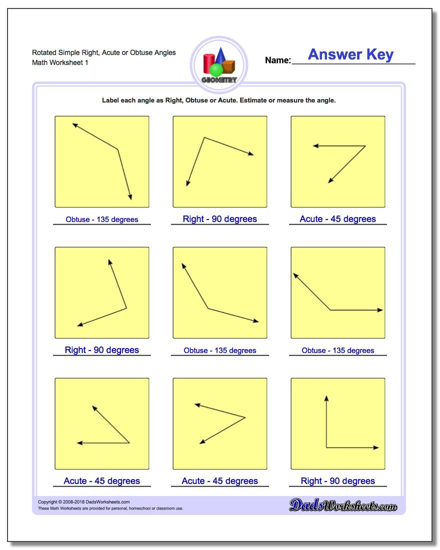 Angles Right Obtuse Acute – Angles Worksheet