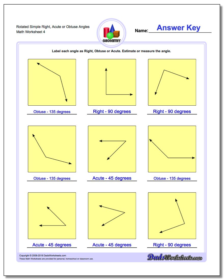 Rotated Simple Right, Acute or Obtuse Angles Worksheet
