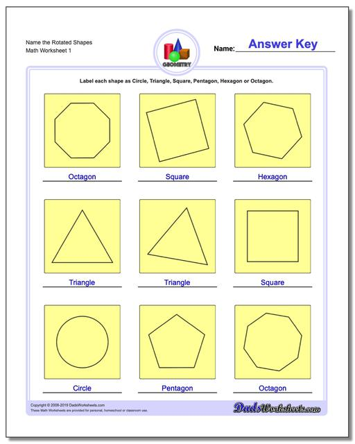 Name the Rotated Shapes Basic Geometry Worksheets