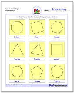 Name the Rotated Shapes Basic Geometry Worksheet