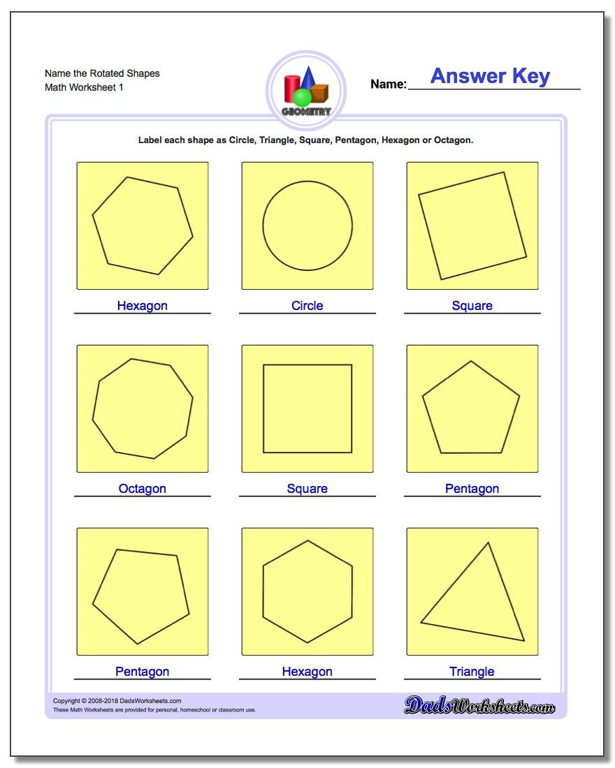 Worksheets Geometric Patterns Worksheet basic shapes name the rotated geometry worksheet