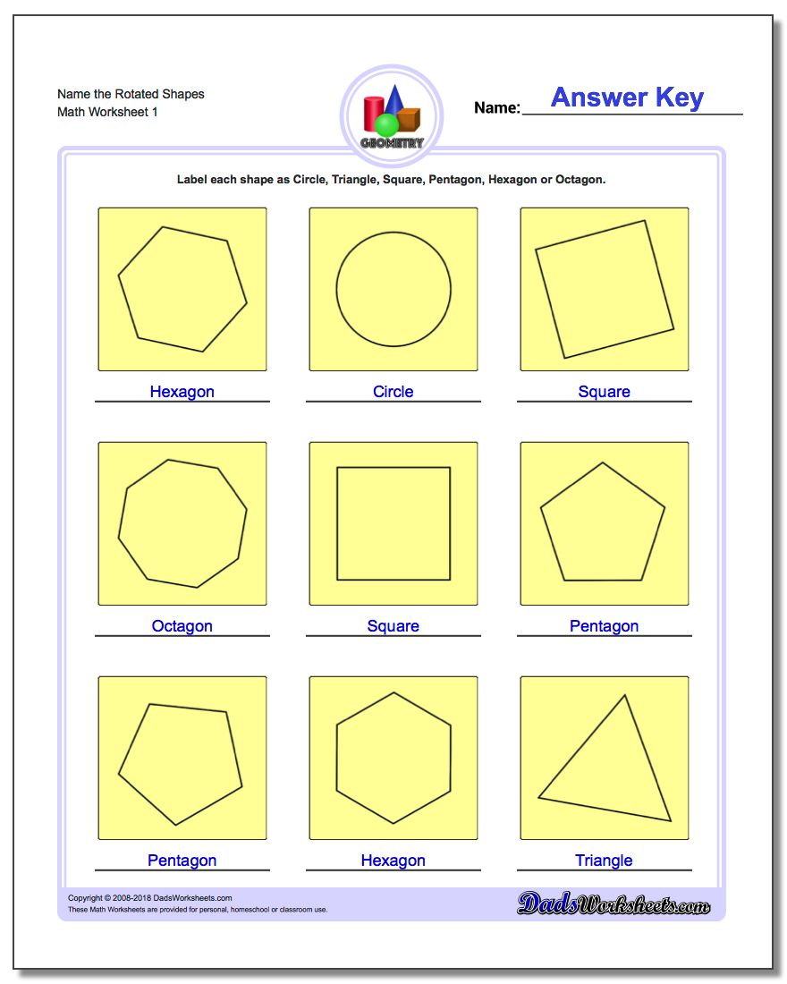 worksheet Types Of Quadrilaterals Worksheet basic shapes name the rotated geometry worksheet