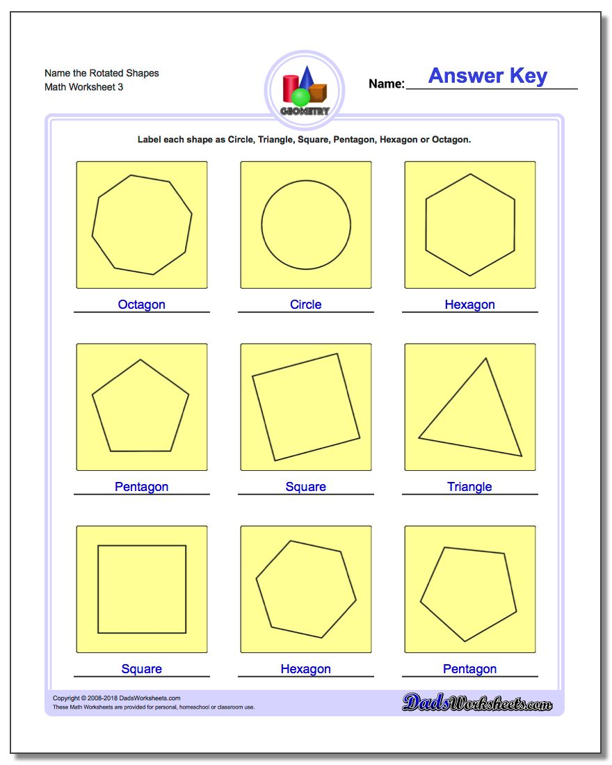 Name the Rotated Shapes Worksheet